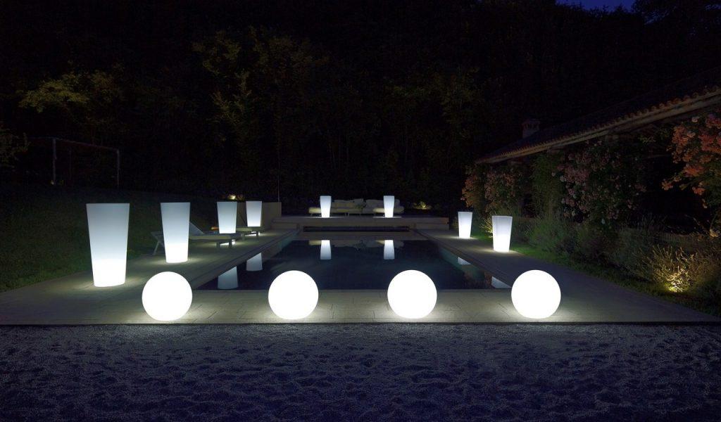 vasi con luce per ambienti interni e ambienti esterni